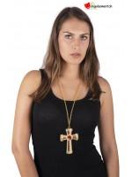 Collier croix roi fausses pierres