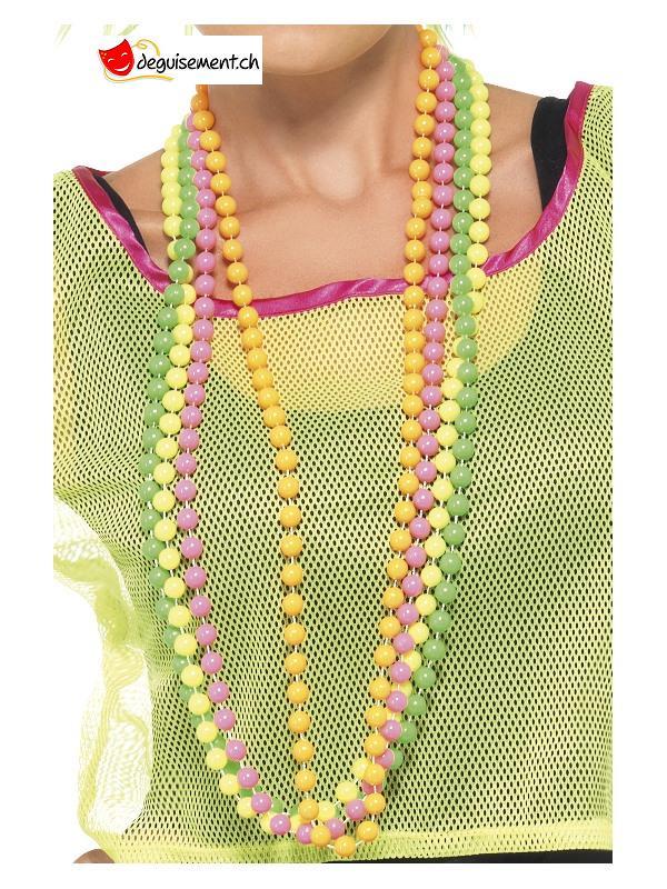 Colliers perles fluos - 4 pièces