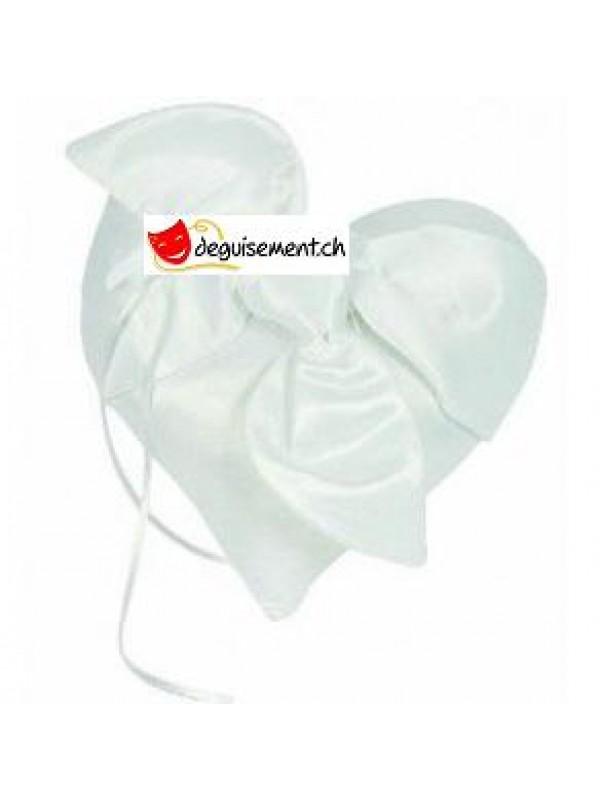 Coussin coeur satin blanc  - porte alliances mariage
