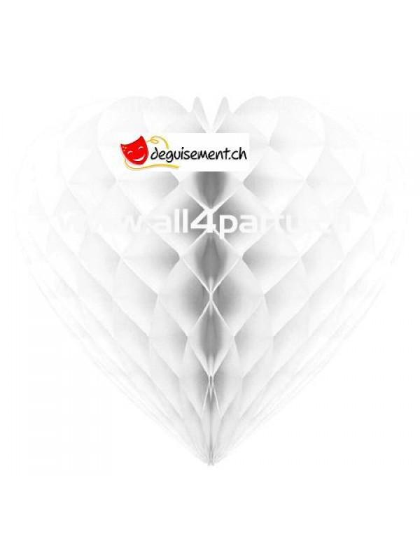 Décoration à suspendre Coeur  Blanc 30cm