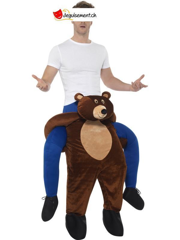 Déguisement homme sur épaule ours brun - Taille unique
