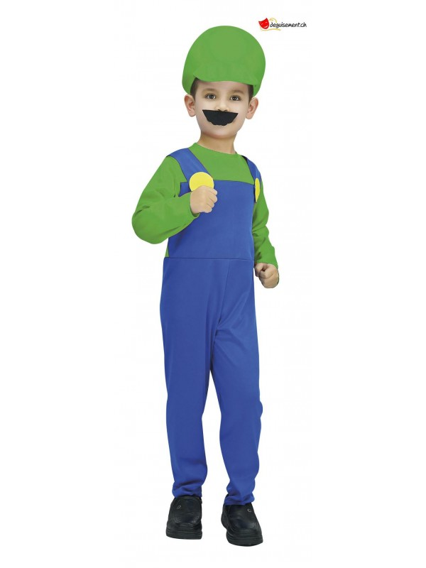 Green and blue plumber disguise for children