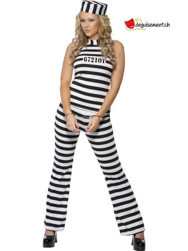 Déguisement prisonnière blanc et noir - M