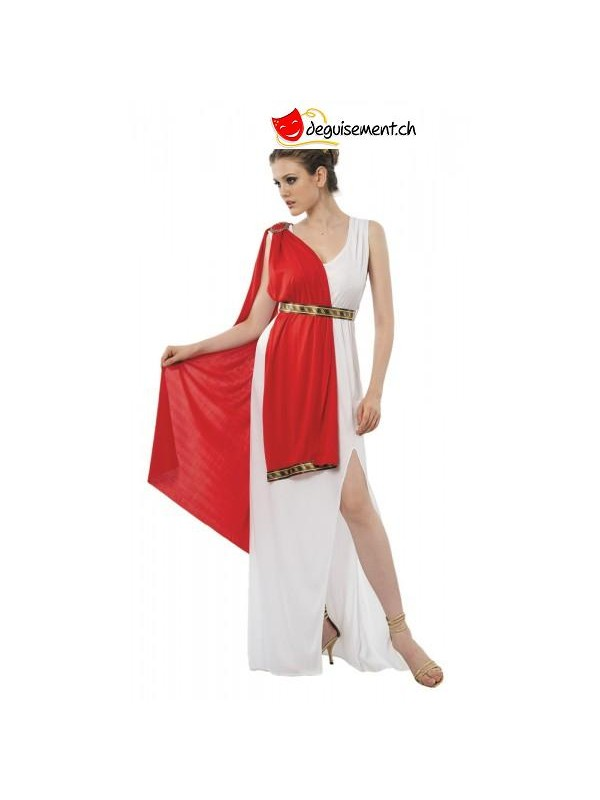 Disguise white dress with red sheet Greek Goddess