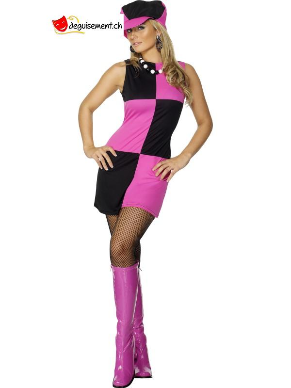 Black and Pink 60's Plaid Dress Costume