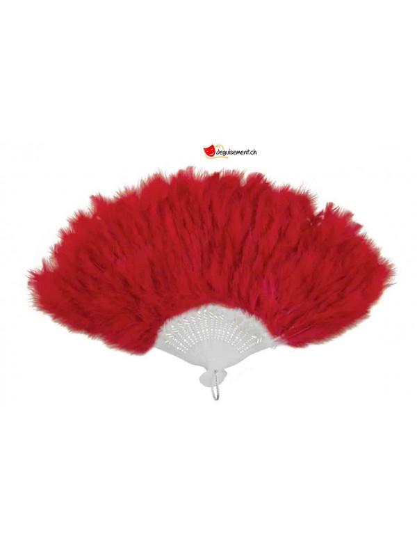 Eventail en plumes - rouge - 43cm