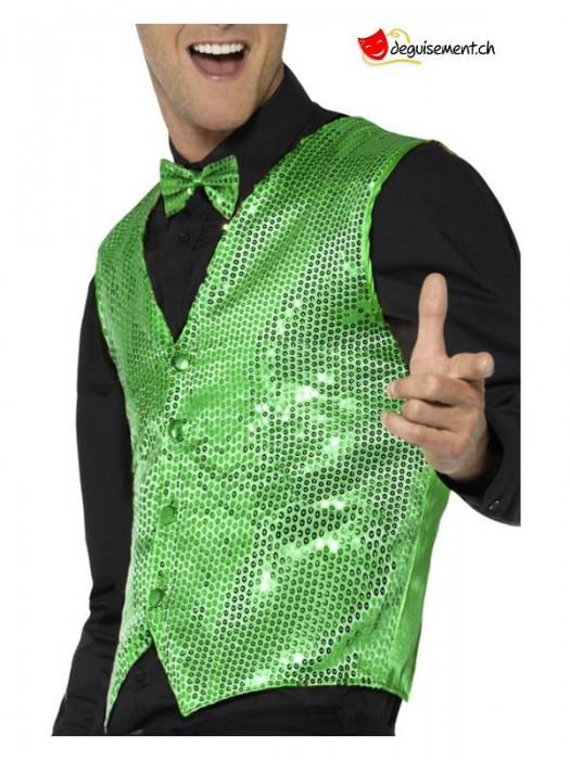 Sequin Waistcoat, Green for adult