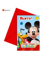 Invitation et enveloppe Mickey - 6 pces