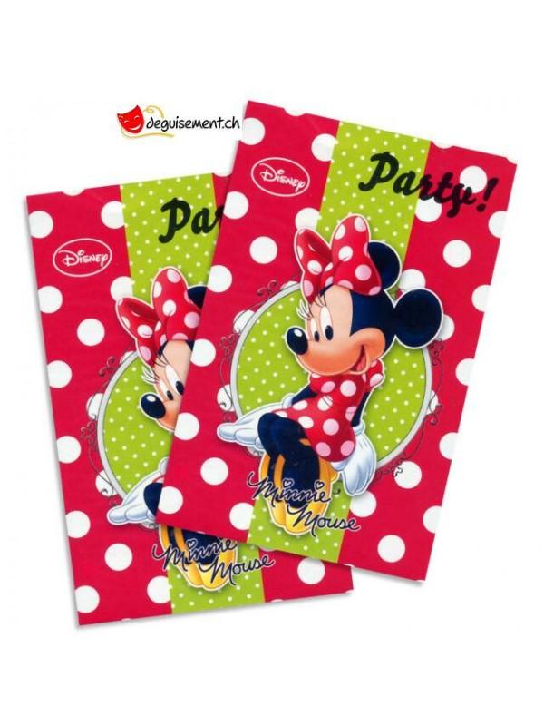 Invitation et enveloppe Minnie - 6 pces