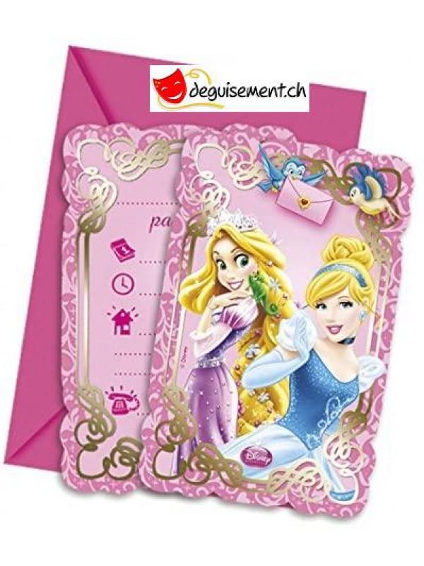 Invitation et enveloppe Princesse disney - 6 pces