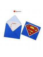 Invitation et enveloppe Superman - 6 pces