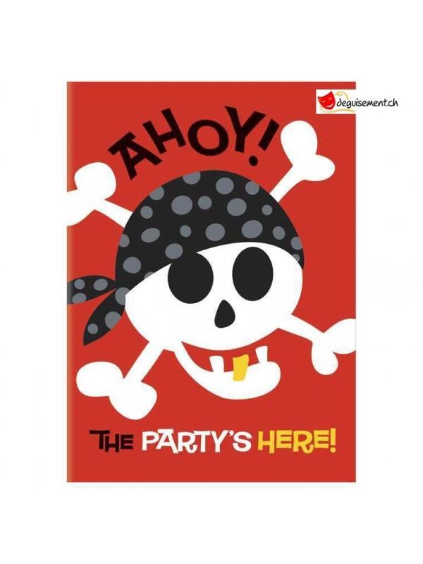 Invitation pirate avec enveloppes - 8 pces