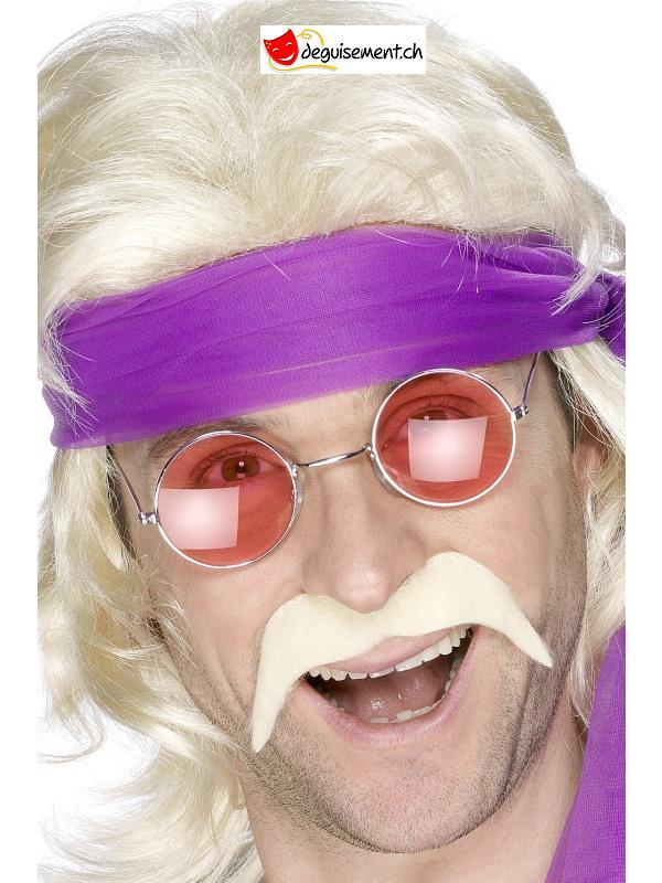 Moustache adhésive seventies - hippie blond
