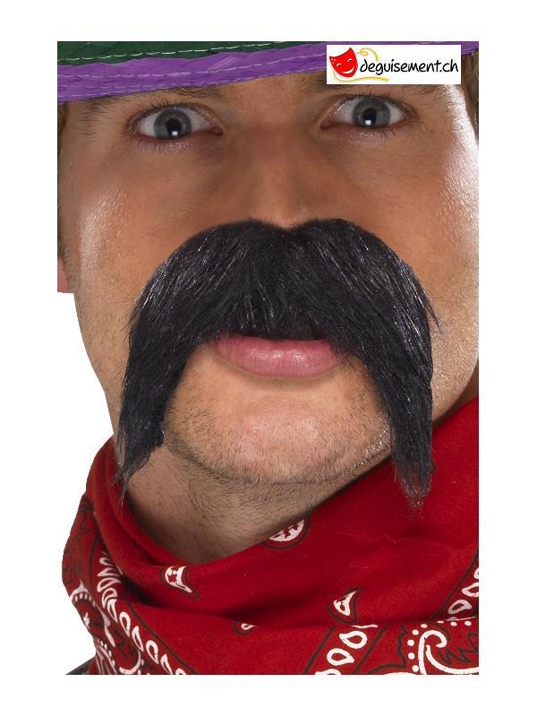 Moustache gringo noir adhésive