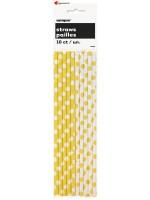 Pailles en papier jaune - 10 pces