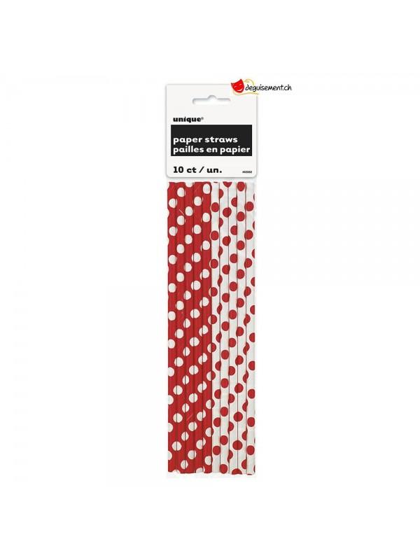 Pailles en papier rouge - 10 pces