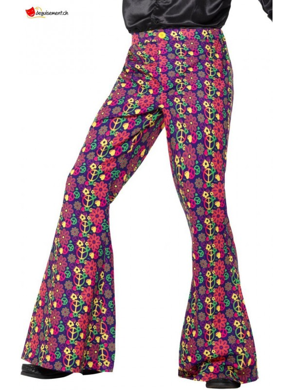 60s Psychedelic CND Flared Trousers, Mens