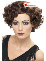20s Flirty Flapper Wig, Short, Brown