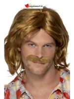 Perruque et moustache hippie brun