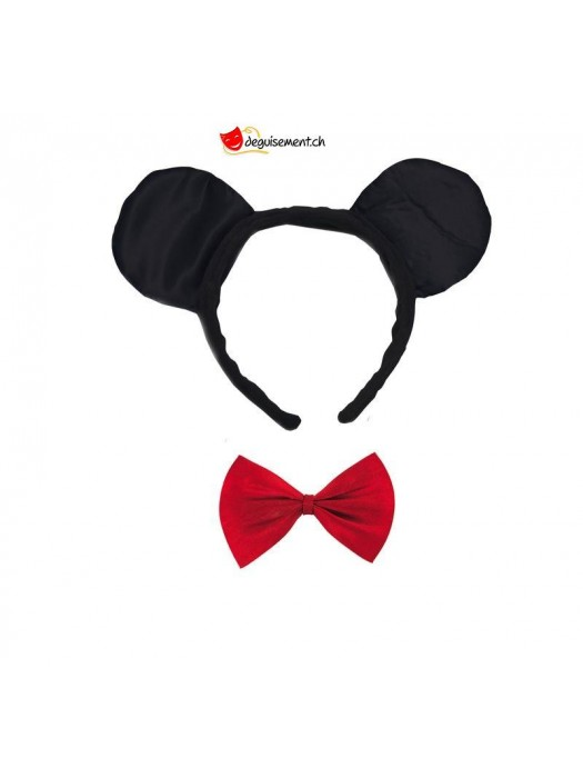 Mouse ear headband with bow tie