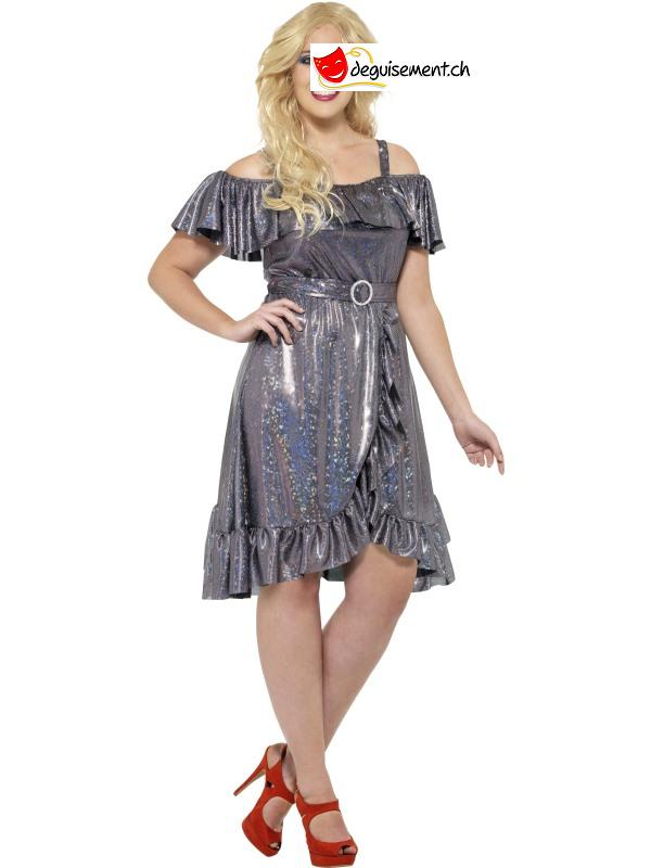 Deguisement Robe Argentee Diva Disco